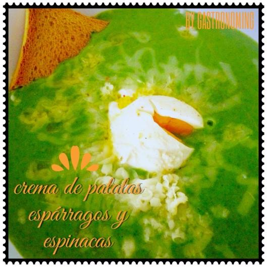 Crema de patatas espinacas y esparragos