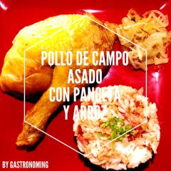 Pollo de campo asado con panceta y arroz